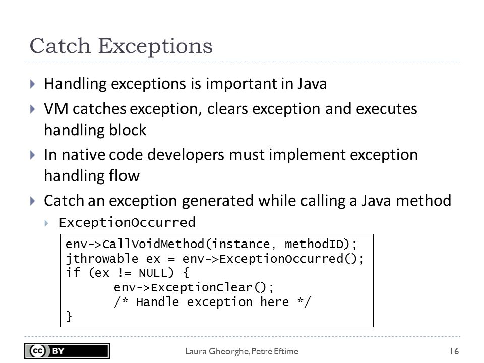 Laura Gheorghe, Petre Eftime Catch Exceptions 16  Handling exceptions is important in Java  VM catches exception, clears exception and executes hand