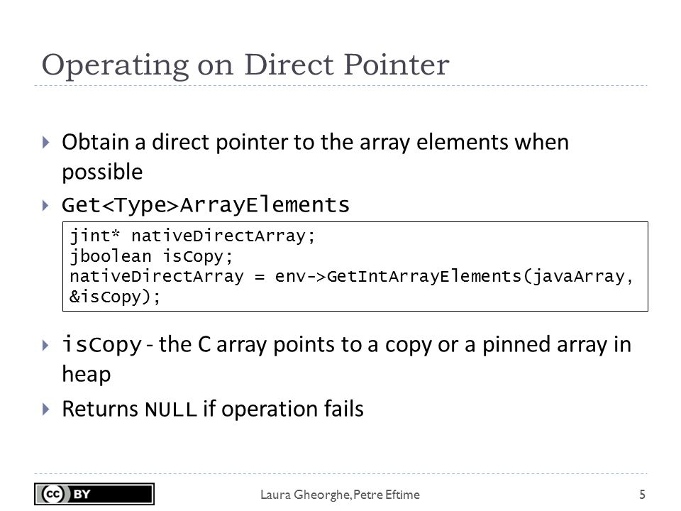 Laura Gheorghe, Petre Eftime Operating on Direct Pointer 5  Obtain a direct pointer to the array elements when possible  Get ArrayElements  isCopy