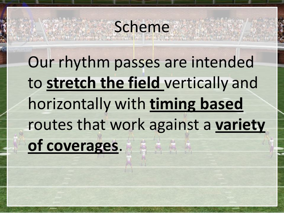 Scheme Our rhythm passes are intended to stretch the field vertically and horizontally with timing based routes that work against a variety of coverag
