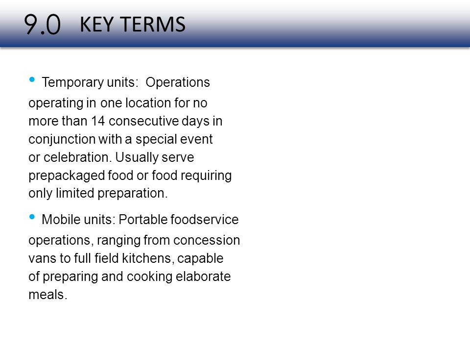 VENDING MACHINES 9.9 Vending operators should protect food from contamination and time-temperature abuse.