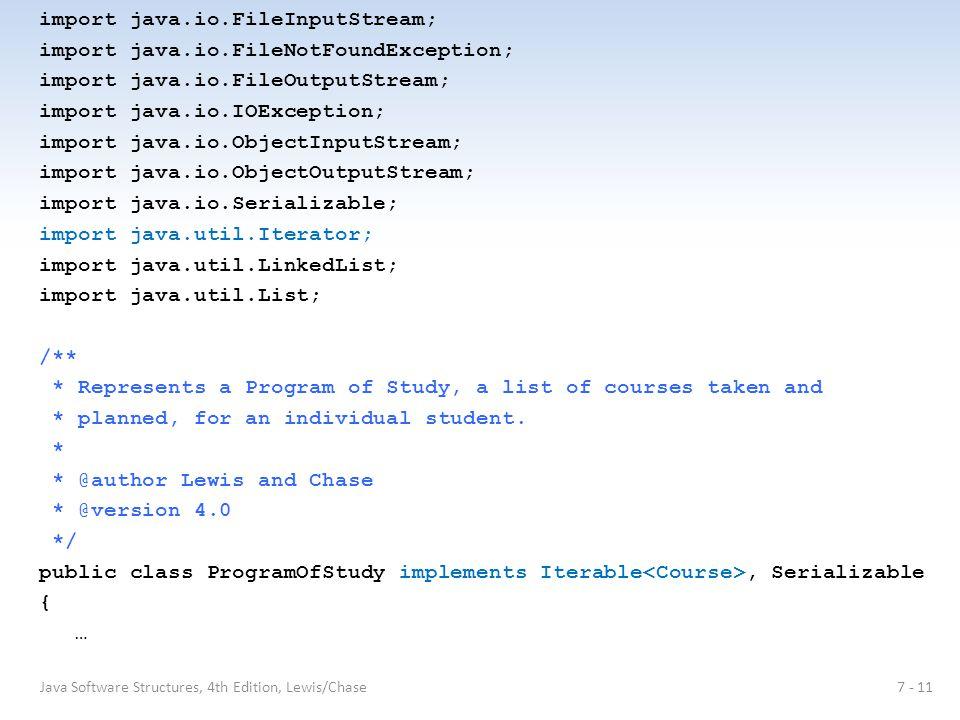 import java.io.FileInputStream; import java.io.FileNotFoundException; import java.io.FileOutputStream; import java.io.IOException; import java.io.Obje