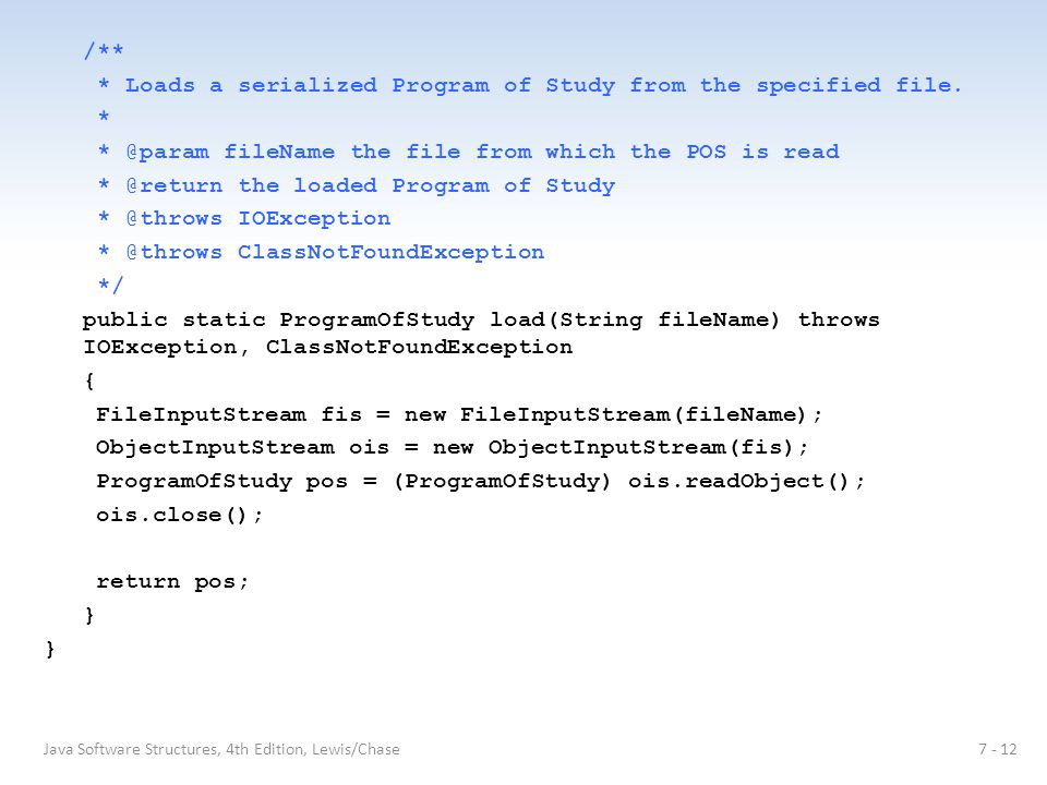 /** * Loads a serialized Program of Study from the specified file.