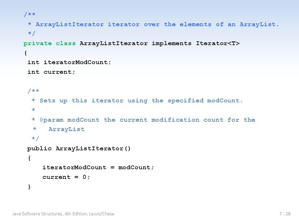 /** * ArrayListIterator iterator over the elements of an ArrayList.