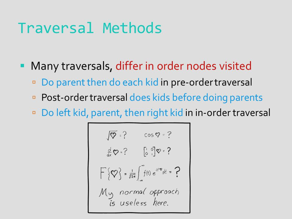 Traversal Methods  Many traversals, differ in order nodes visited  Do parent then do each kid in pre-order traversal  Post-order traversal does kid