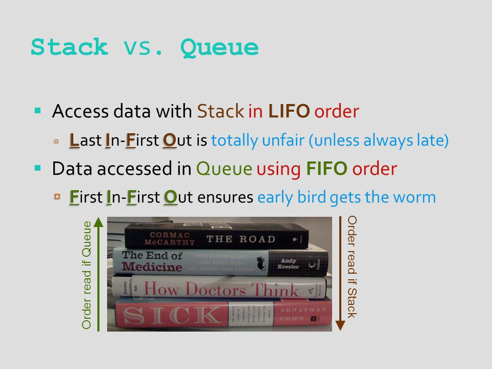 Stack vs. Queue Order read if Queue Order read if Stack