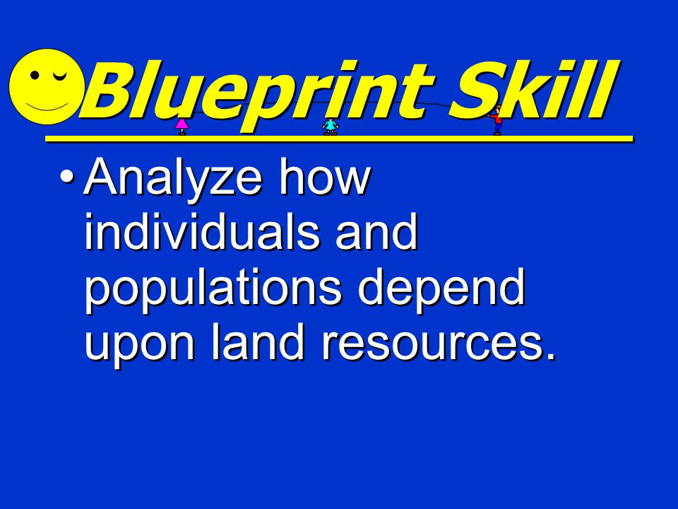 Blueprint Skill Analyze how individuals and populations depend upon land resources.
