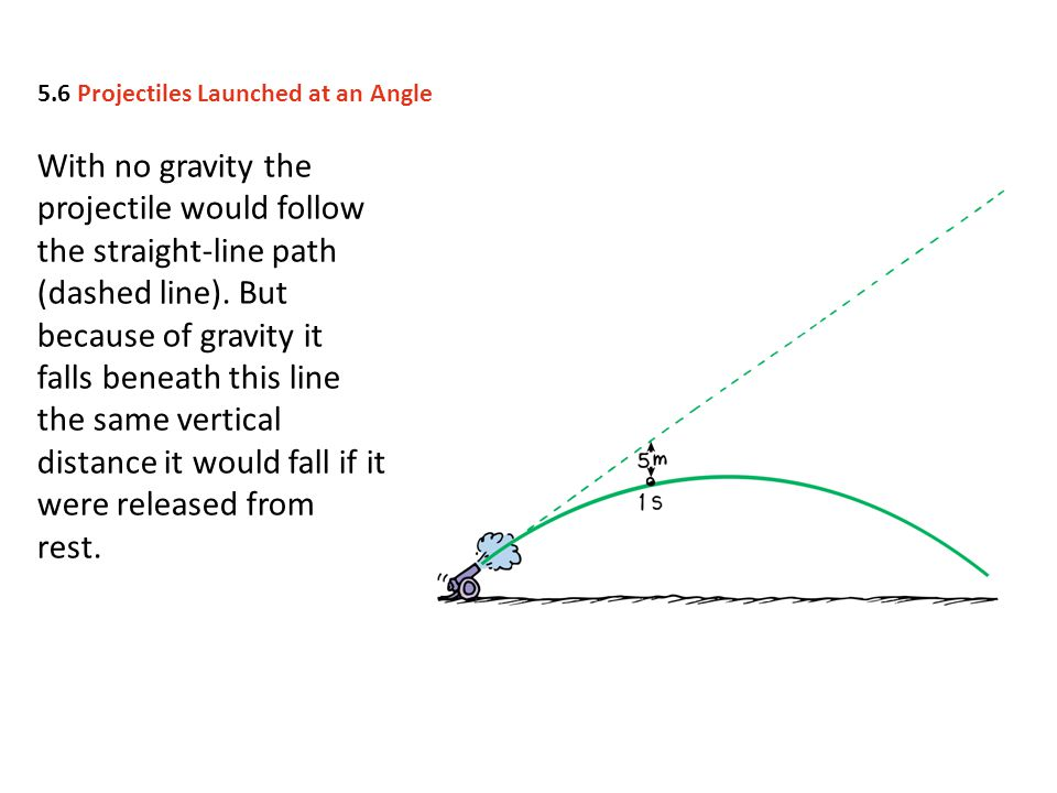 With no gravity the projectile would follow the straight-line path (dashed line). But because of gravity it falls beneath this line the same vertical