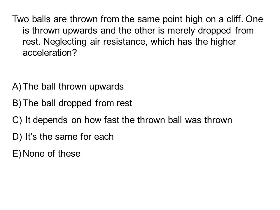 Two balls are thrown from the same point high on a cliff.