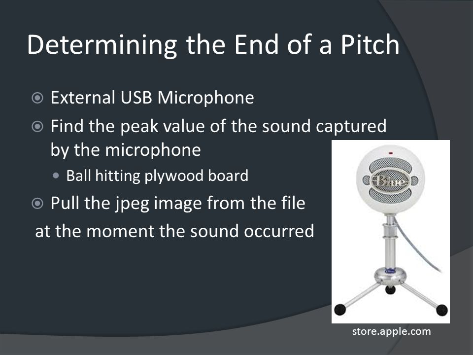 Determining the End of a Pitch  External USB Microphone  Find the peak value of the sound captured by the microphone Ball hitting plywood board  Pu
