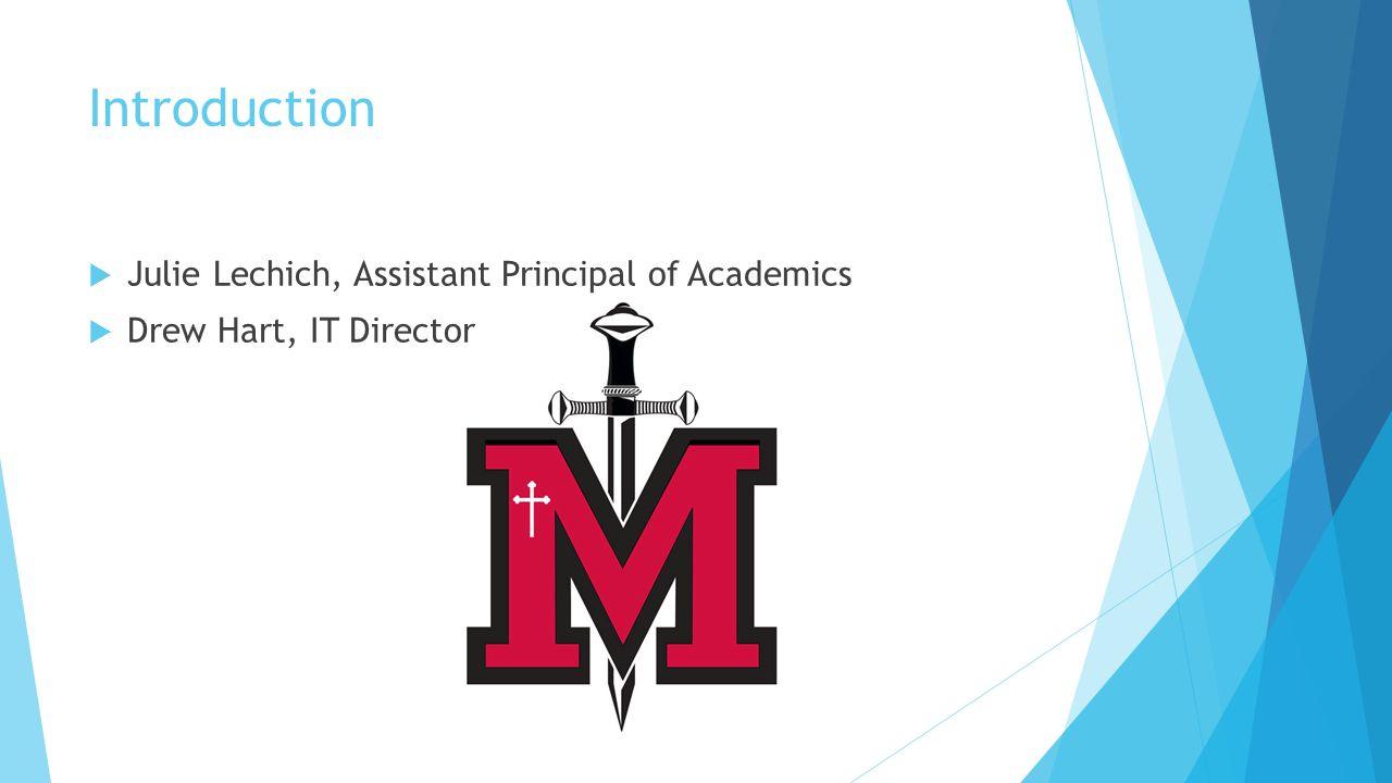 Introduction  Julie Lechich, Assistant Principal of Academics  Drew Hart, IT Director