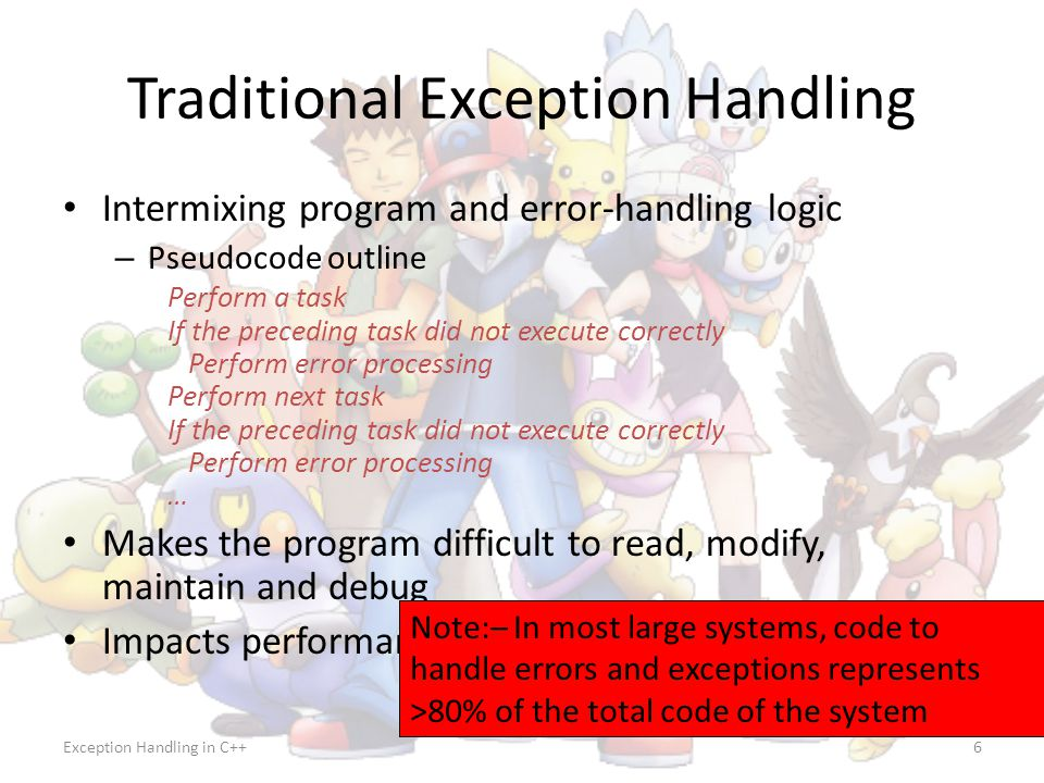 Exception Handling in C++27 Throwing an Exception Use keyword throw followed by an operand representing the type of exception – The throw operand can be of any type – If the throw operand is an object, it is called an exception object The throw operand initializes the exception parameter in the matching catch handler, if one is found