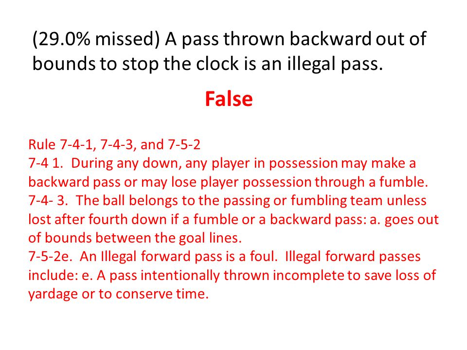 (27.0% missed) A passer is a player who throws a forward or backward pass.