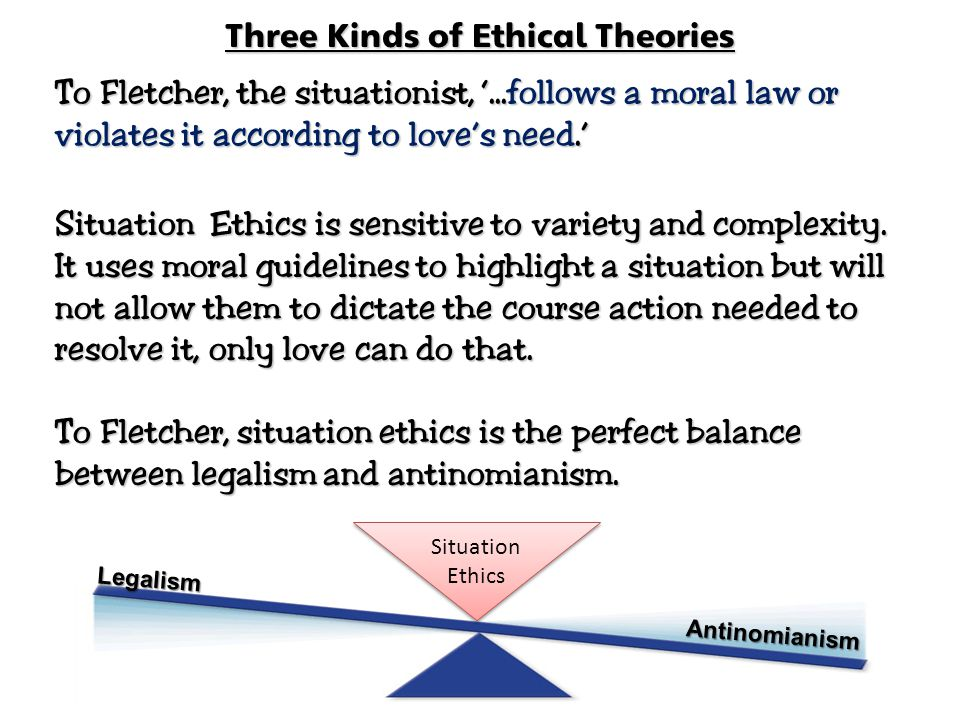 Three Kinds of Ethical Theories To Fletcher, the situationist, '...follows a moral law or violates it according to love's need.' Situation Ethics is s