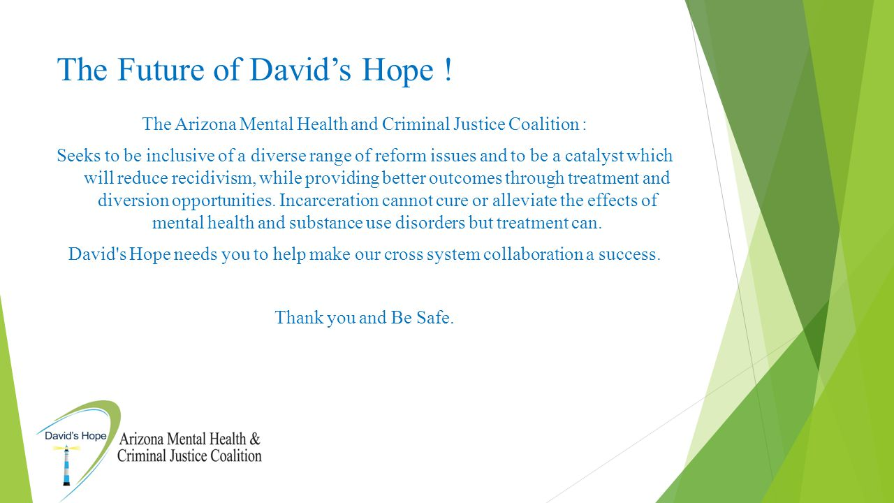 The Future of David's Hope ! The Arizona Mental Health and Criminal Justice Coalition : Seeks to be inclusive of a diverse range of reform issues and