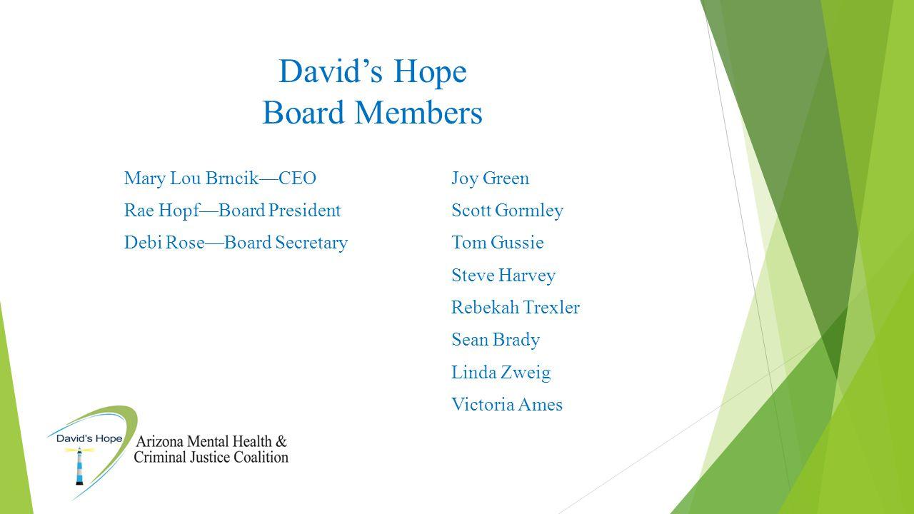 David's Hope Board Members Mary Lou Brncik—CEO Rae Hopf—Board President Debi Rose—Board Secretary Joy Green Scott Gormley Tom Gussie Steve Harvey Rebe
