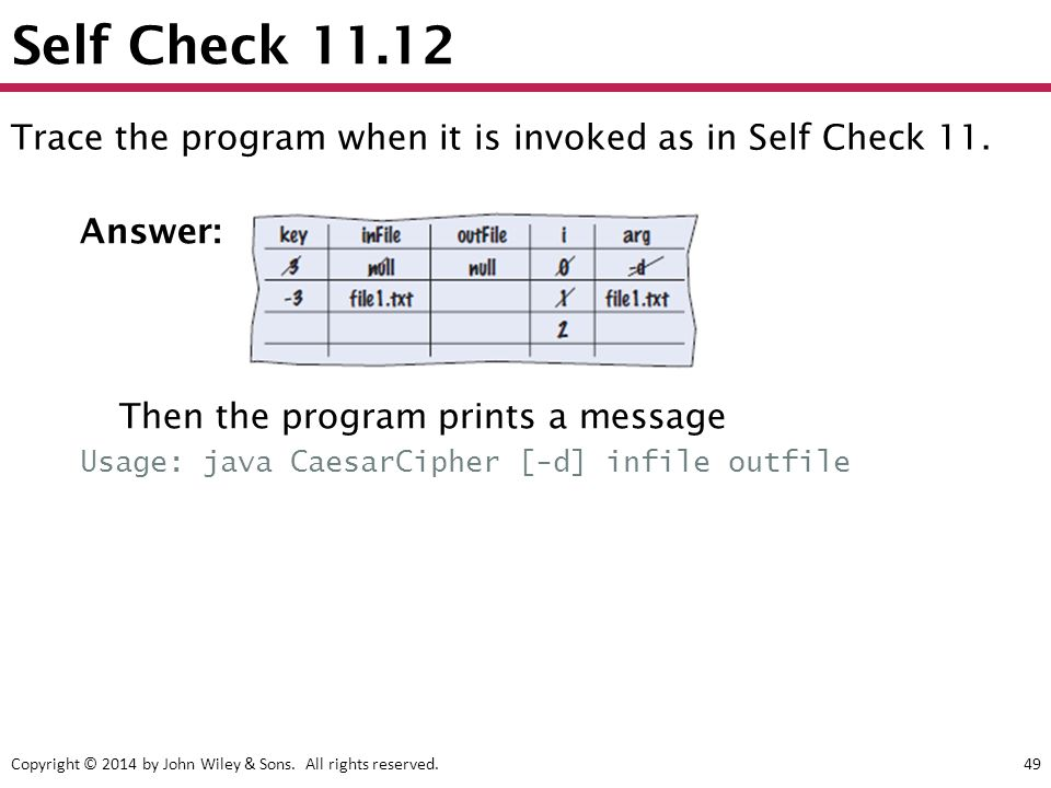 Copyright © 2014 by John Wiley & Sons. All rights reserved.49 Self Check 11.12 Answer: Then the program prints a message Usage: java CaesarCipher [-d]