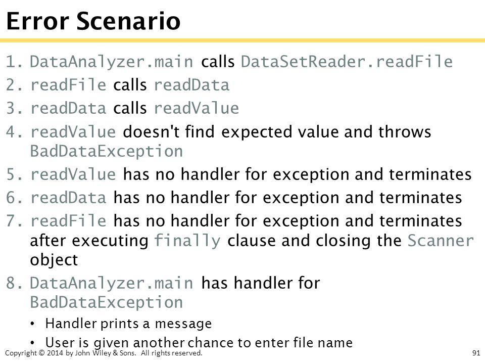 Copyright © 2014 by John Wiley & Sons. All rights reserved.91 Error Scenario 1.DataAnalyzer.main calls DataSetReader.readFile 2.readFile calls readDat