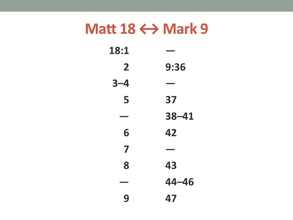 Matt 18 ↔ Mark 9 18:1 2 3–4 5 — 6 7 8 — 9 — 9:36 — 37 38–41 42 — 43 44–46 47