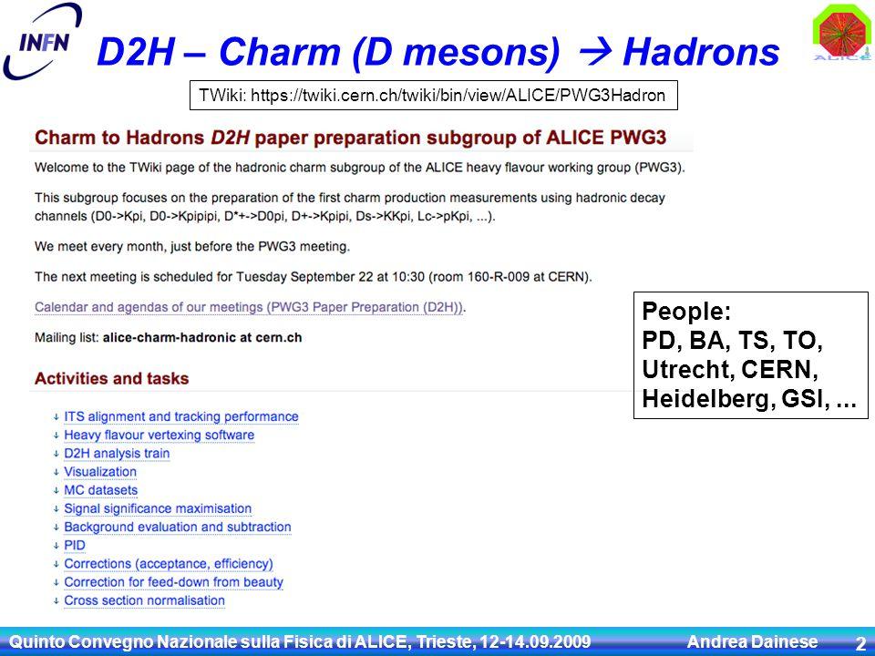 D2H – Charm (D mesons)  Hadrons Quinto Convegno Nazionale sulla Fisica di ALICE, Trieste, 12-14.09.2009 Andrea Dainese 2 TWiki: https://twiki.cern.ch/twiki/bin/view/ALICE/PWG3Hadron People: PD, BA, TS, TO, Utrecht, CERN, Heidelberg, GSI,...