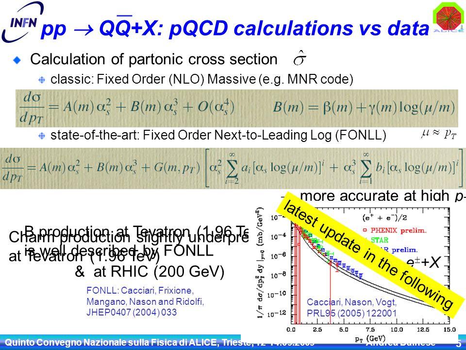 Quinto Convegno Nazionale sulla Fisica di ALICE, Trieste, 12-14.09.2009 Andrea Dainese 5 pp  QQ+X: pQCD calculations vs data Calculation of partonic cross section classic: Fixed Order (NLO) Massive (e.g.