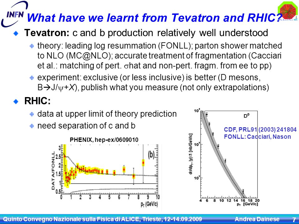Quinto Convegno Nazionale sulla Fisica di ALICE, Trieste, 12-14.09.2009 Andrea Dainese 8 Heavy-quark production at the LHC pp: Important test of pQCD in a new energy domain Remember the 15-years saga of b production at Tevatron * Baseline predictions: NLO (MNR code) in pp + binary scaling (shadowing [EKS98] included for PDFs in the Pb) e.g.