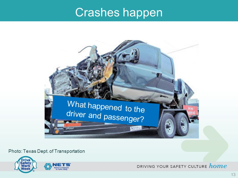 Crashes happen What happened to the driver and passenger? Photo: Texas Dept. of Transportation 13