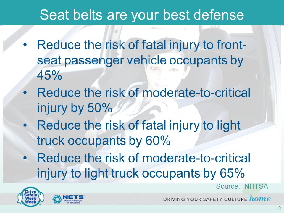 Seat belts are your best defense Reduce the risk of fatal injury to front- seat passenger vehicle occupants by 45% Reduce the risk of moderate-to-crit