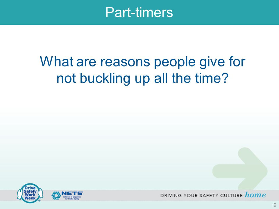 Part-timers What are reasons people give for not buckling up all the time 9