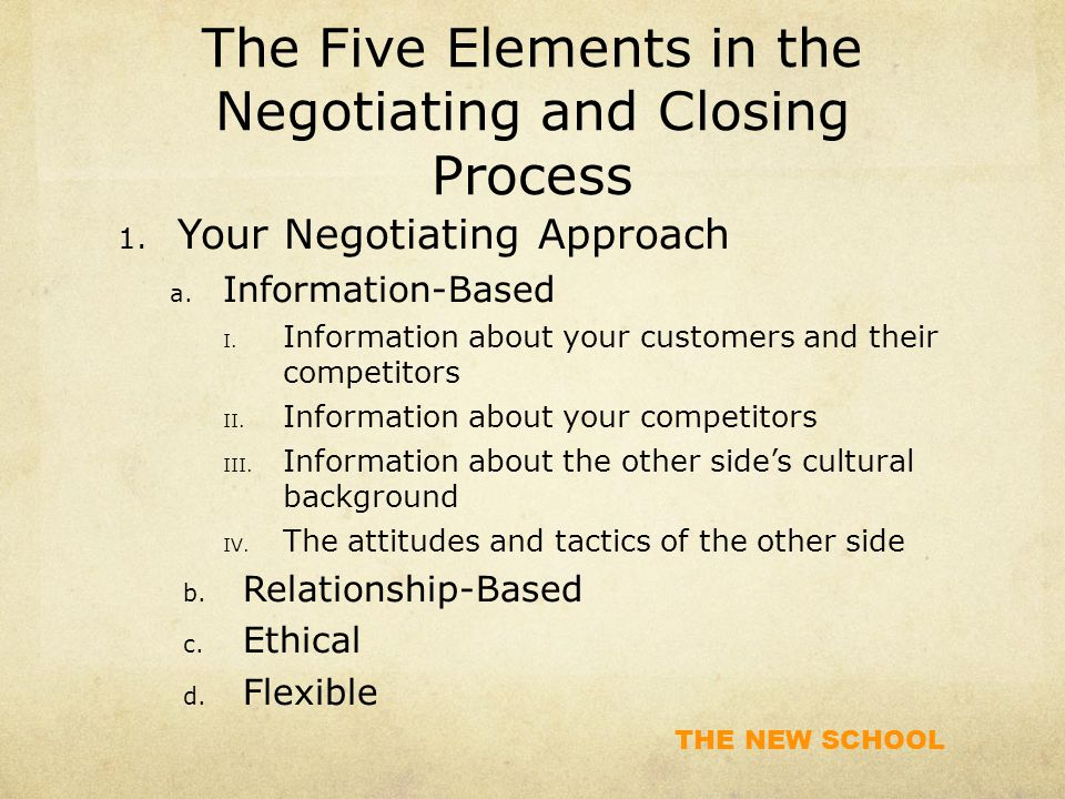 THE NEW SCHOOL The Five Elements in the Negotiating and Closing Process 1.
