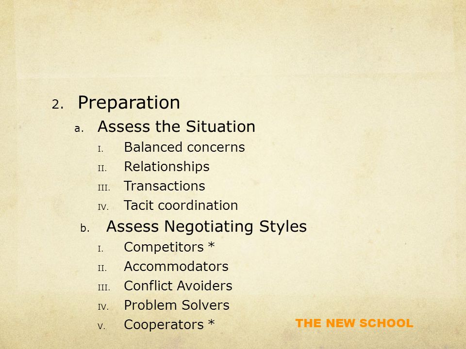THE NEW SCHOOL 2. Preparation a. Assess the Situation I.