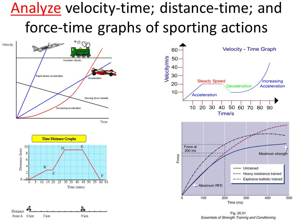 Analyze velocity-time; distance-time; and force-time graphs of sporting actions