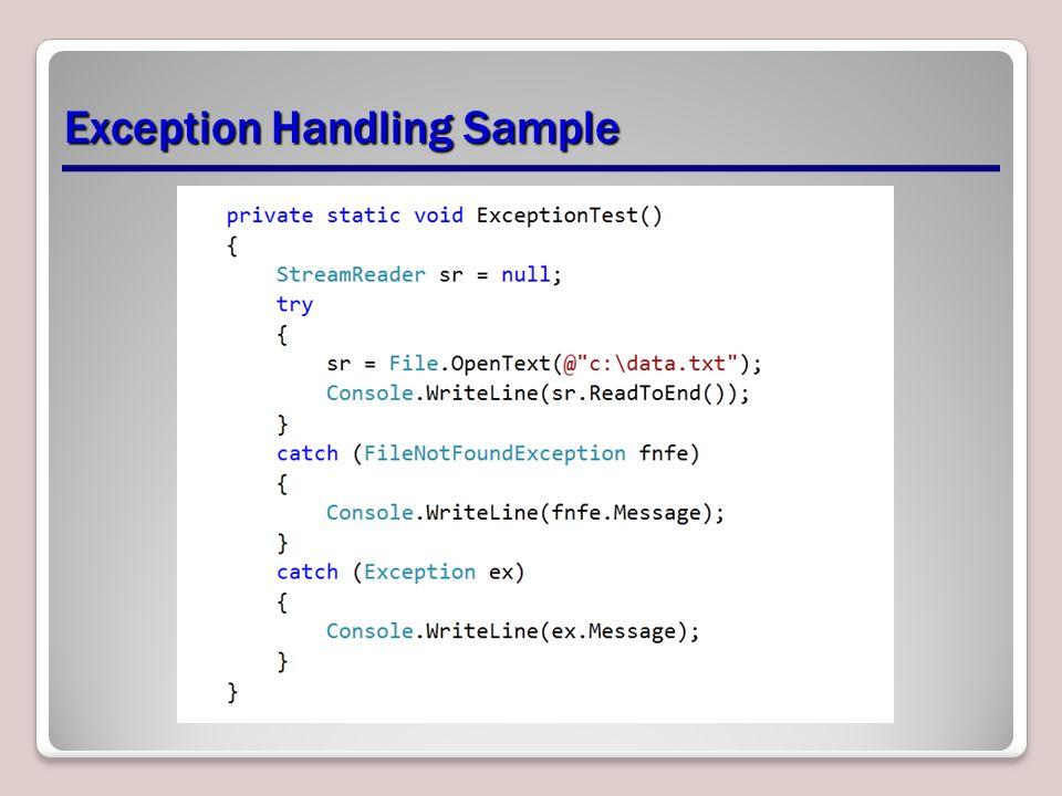 Exception Handling Sample
