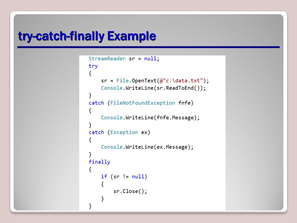 try-catch-finally Example