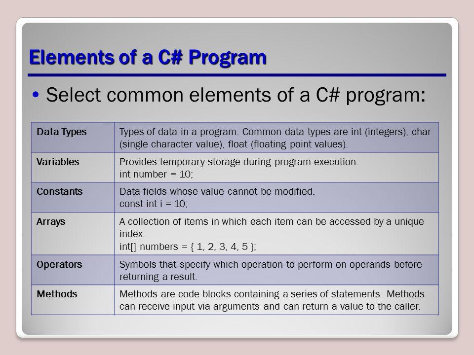 Elements of a C# Program Select common elements of a C# program: Data TypesTypes of data in a program.
