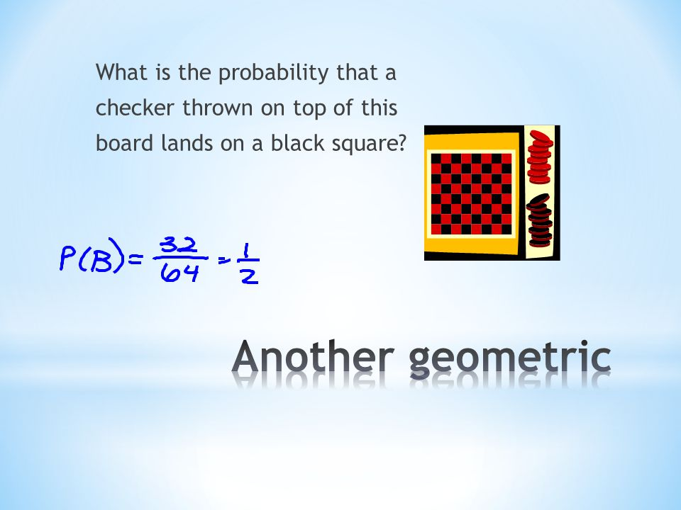 What is the probability that a checker thrown on top of this board lands on a black square?