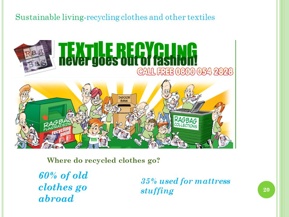 Sustainable living-recycling clothes and other textiles 60% of old clothes go abroad 35% used for mattress stuffing Where do recycled clothes go.