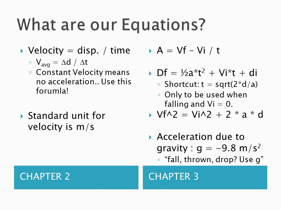 CHAPTER 2CHAPTER 3  Velocity = disp.