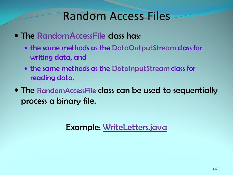 Random Access Files The RandomAccessFile class has: the same methods as the DataOutputStream class for writing data, and the same methods as the DataI