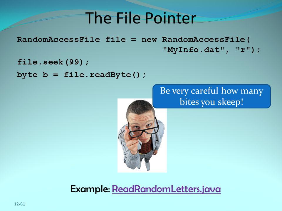 12-61 The File Pointer RandomAccessFile file = new RandomAccessFile(
