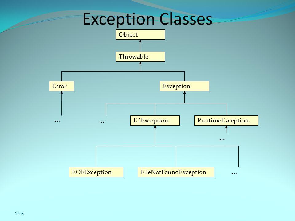 12-8 Exception Classes Object Throwable ExceptionError IOException FileNotFoundExceptionEOFException … … … … RuntimeException