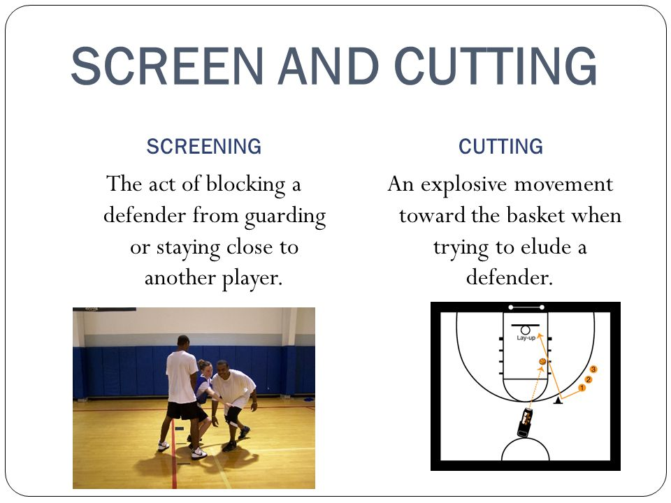 SCREEN AND CUTTING SCREENINGCUTTING The act of blocking a defender from guarding or staying close to another player.