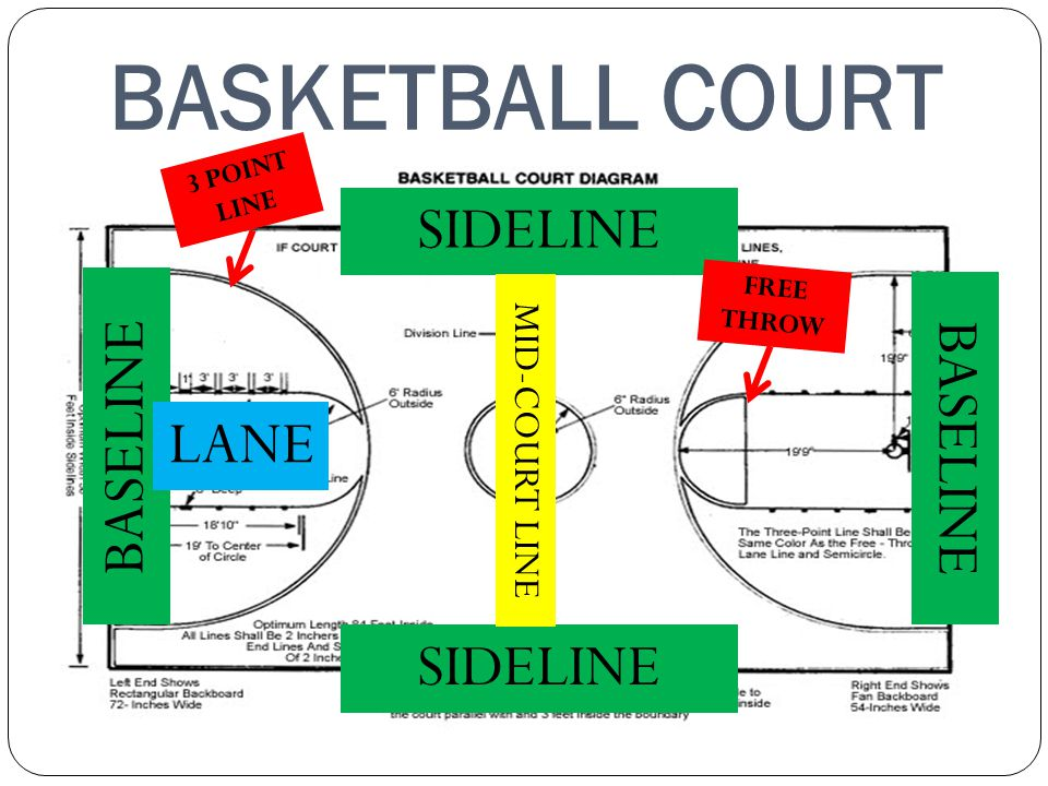 BASKETBALL COURT BASELINE SIDELINE MID-COURT LINE FREE THROW LANE 3 POINT LINE