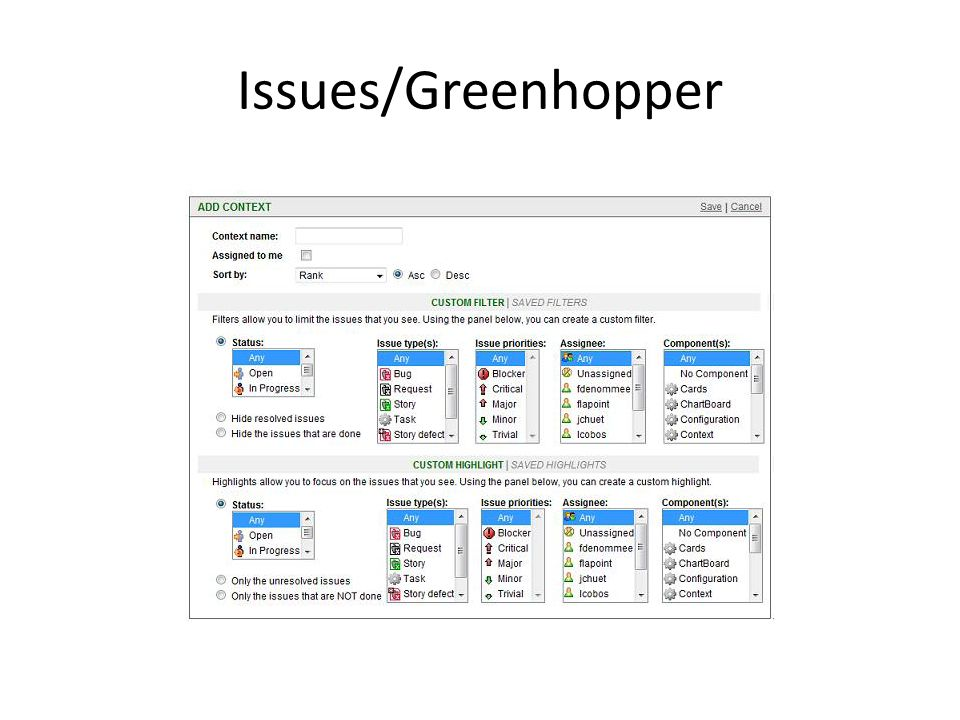 Issues/Greenhopper