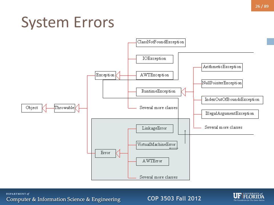 26 / 89 System Errors