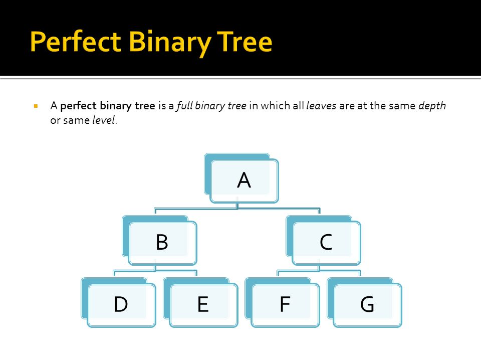  A perfect binary tree is a full binary tree in which all leaves are at the same depth or same level.