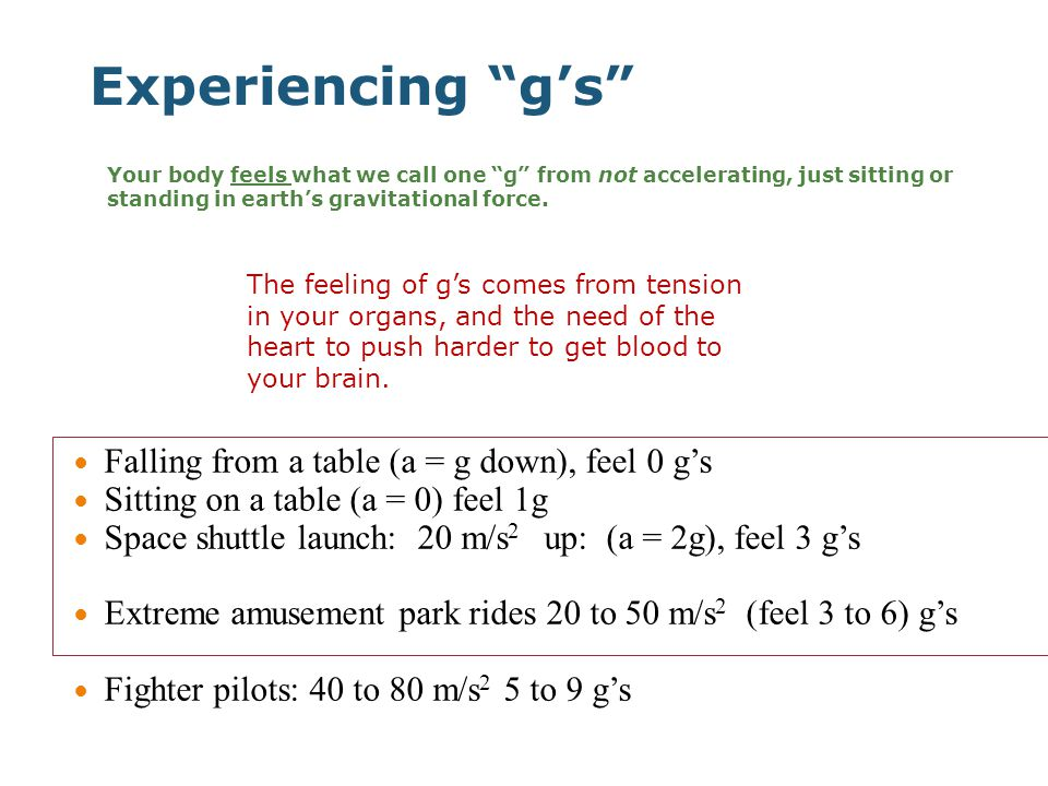 Experiencing g's Falling from a table (a = g down), feel 0 g's Sitting on a table (a = 0) feel 1g Space shuttle launch: 20 m/s 2 up: (a = 2g), feel 3 g's Extreme amusement park rides 20 to 50 m/s 2 (feel 3 to 6) g's Fighter pilots: 40 to 80 m/s 2 5 to 9 g's Your body feels what we call one g from not accelerating, just sitting or standing in earth's gravitational force.