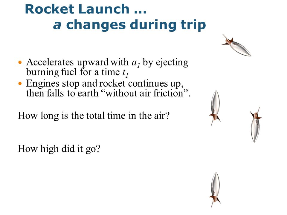 Rocket Launch … a changes during trip Accelerates upward with a 1 by ejecting burning fuel for a time t 1 Engines stop and rocket continues up, then falls to earth without air friction .