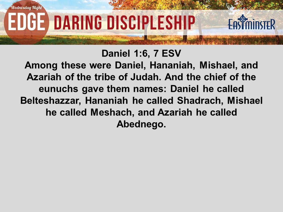 Daniel 1:6, 7 ESV Among these were Daniel, Hananiah, Mishael, and Azariah of the tribe of Judah.