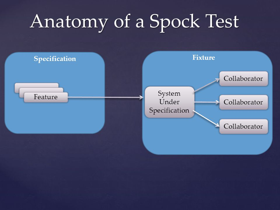 Anatomy of a Spock Test Specification System Under Specification Feature Fixture Collaborator