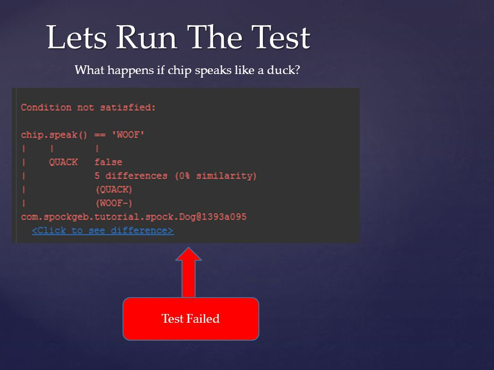 Lets Run The Test What happens if chip speaks like a duck Test Failed